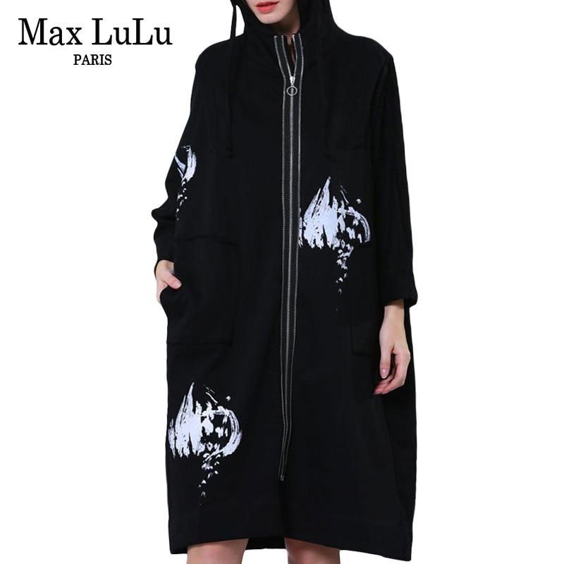 Max LuLu 2019 Fashion Korean Style Ladies Casual Streetwear Womens Black Printed   Trench   Coat Punk Windbreaker Woman Long Clothes