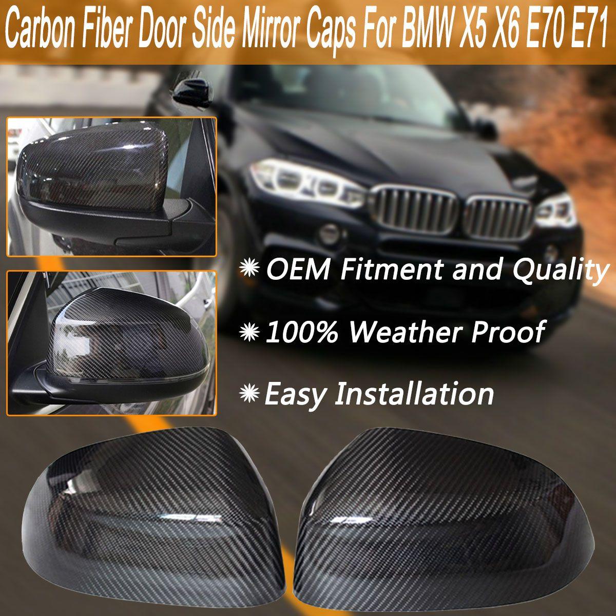 2Pcs Carbon Fiber Rear Door Side Wing Mirror Black Covers Cover Caps For BMW X5 X6