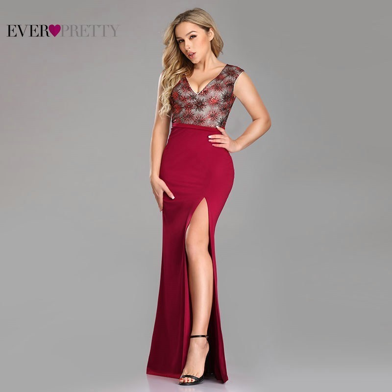 New Arrival Burgundy   Prom     Dresses   Long Ever Pretty High Split Sexy Deep V-Neck Sequined Formal   Dresses   Mermaid Lace Party Gowns
