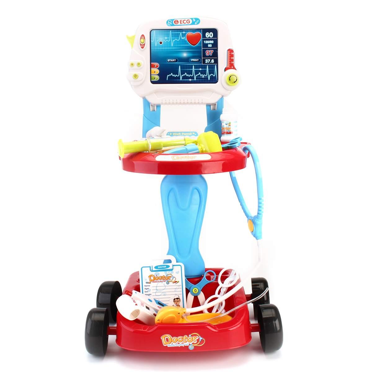 17 pièces/ensemble enfants semblant jouer docteur jouets infirmière médical Playset fille jeu de rôle Kit éducatif jouet ensemble ECG écran chariot 2 couleurs