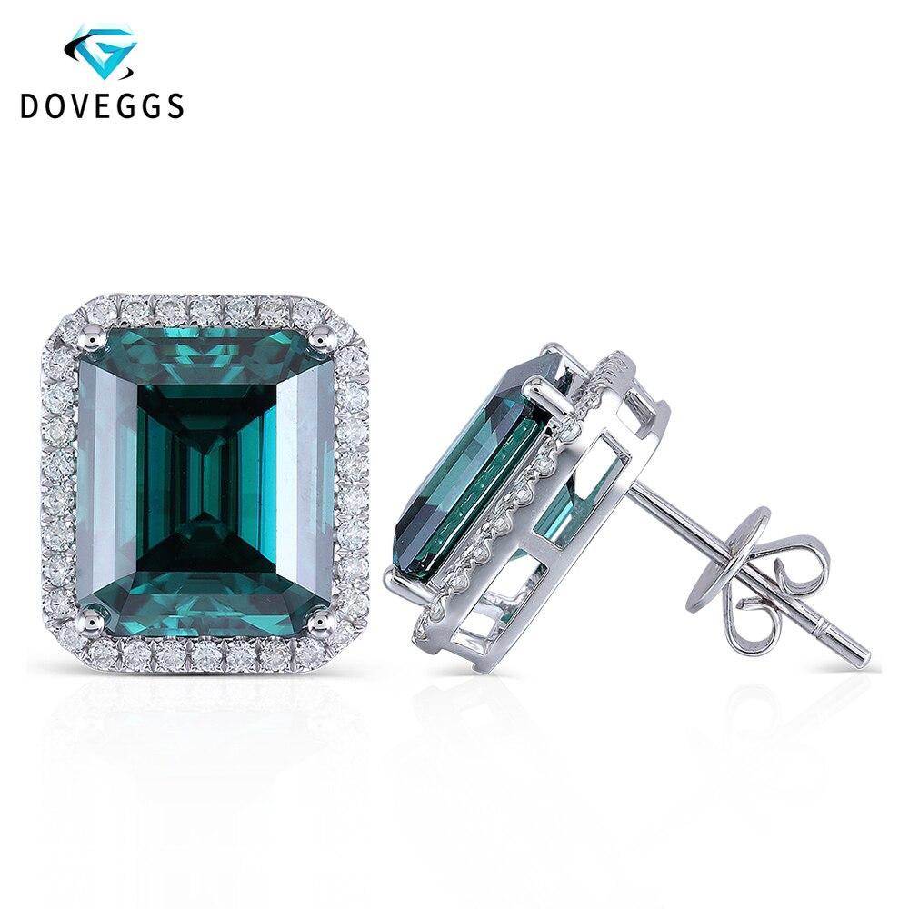 DovEggs 14K 585 White Gold Center 8*10mm Green Emerald Stud Earrings for Women with Moissanite Accents Push Back Halo Earrings