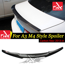 цена на A3 S3 Rear Trunk Spoiler wing Lip M4 style Highkick True Carbon fiber Fits For Audi A3 S3 Sedan Rear trunk spoiler Tail 2013-18