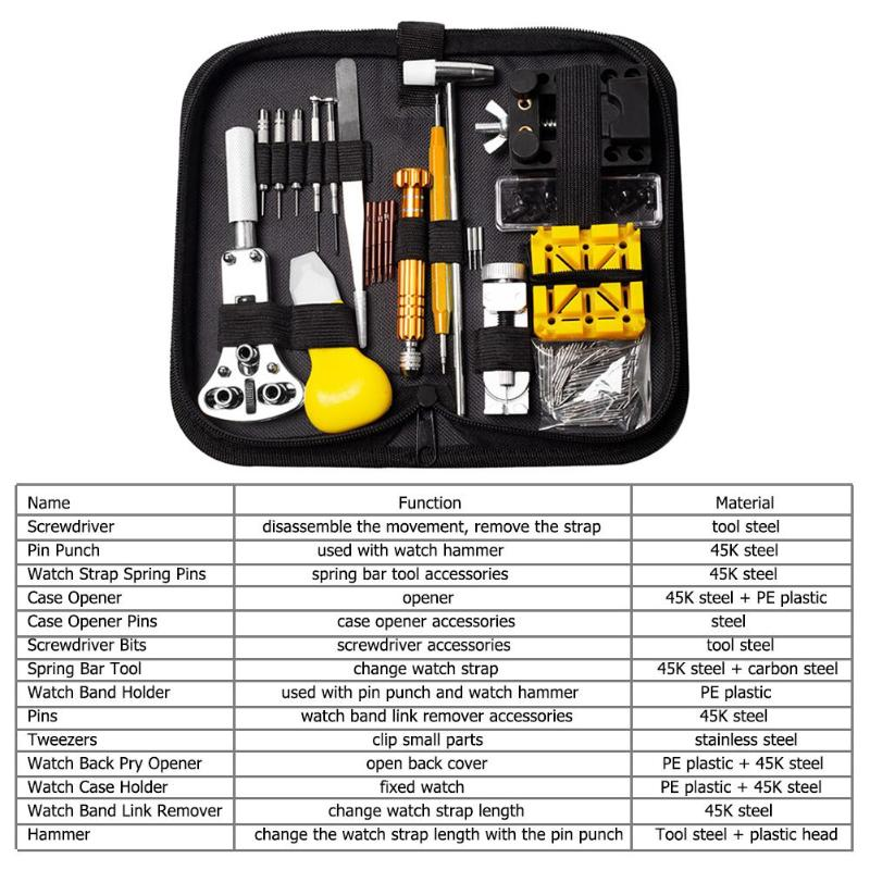 148pcs/set Professional Watch Tools Clock Repair Tools Kit Bag Horloge Gereedschap
