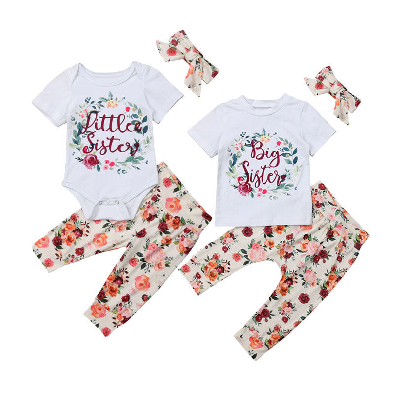 Cute Little Big Sister Matching Clothes Kids Baby Girls Romper Tops Skirts Pants