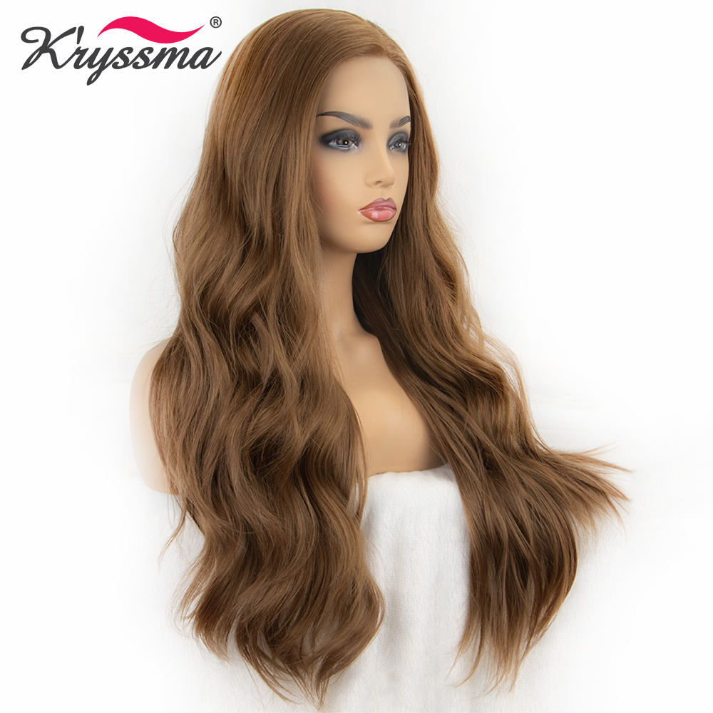 Kryssma Synthetic Lace Front Wig Long Wavy Wig Brown Wigs For Women Natural Hairline L Parting Hair Heat Resistant Fiber