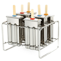 6Pcs Ice Cream Molds Ice Cubes And Popsicle Maker Mould Tools With Flat Double Groove And Stainless Steel Shelf