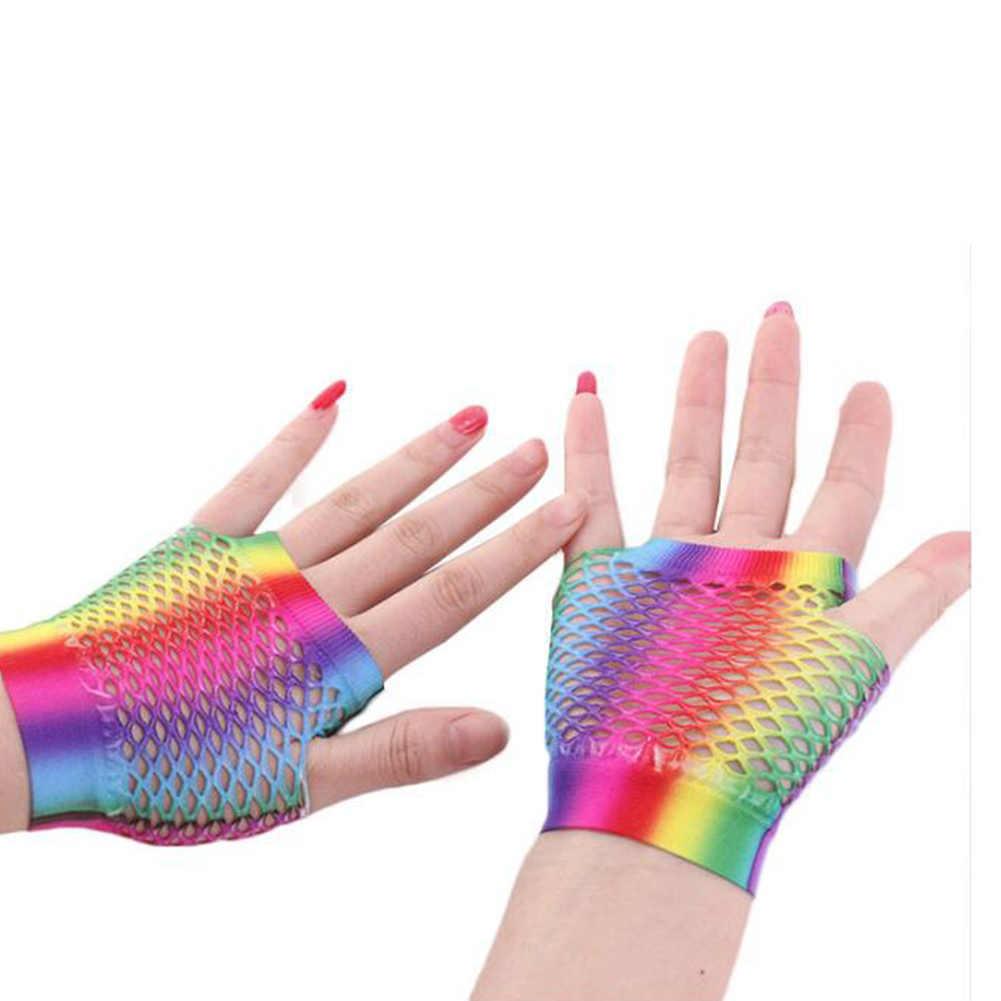 נשים של סקסי קשת רשת נטו רשת דייגים כפפות גבירותיי חלול החוצה חורים חצי אצבע כפפות ארוכות מפלגה למבוגרים כפפות Guantes