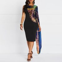 60c021fa3a Color Sequins Dress Women Spring Sexy Evening Cloak Sleeve Fashion Brand  Black Elegant Party Club Slim
