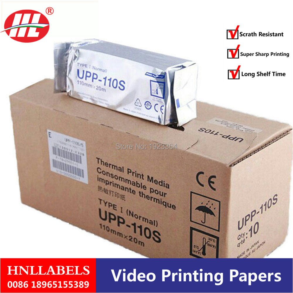 4X Rolls Ultrasound UPP 110S, 110mm*20m B-recorder UPP-110S Thermal Paper Printer B-sheets, A6 Printer Paper