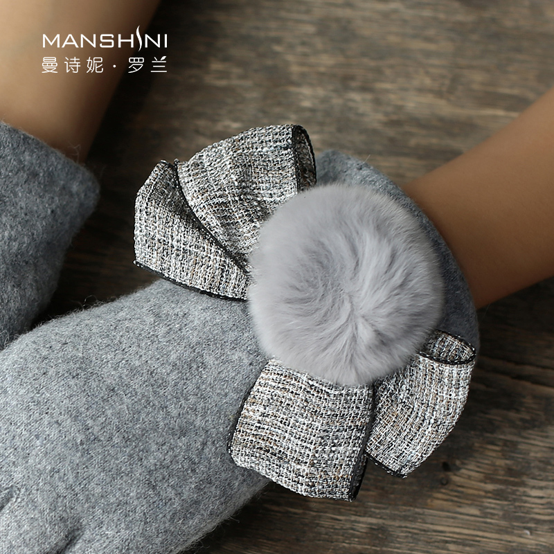 Wool gloves winter rabbit hair ball plus velvet warm driving telefingers gloves woman solid touch screen gloves winter 0817 in Women 39 s Gloves from Apparel Accessories