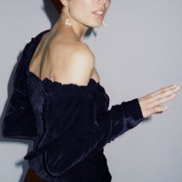 2019 Women Irregular Velour Shirts Skew Collar Long Sleeve Blouse Lace Up Button Elegant Tops