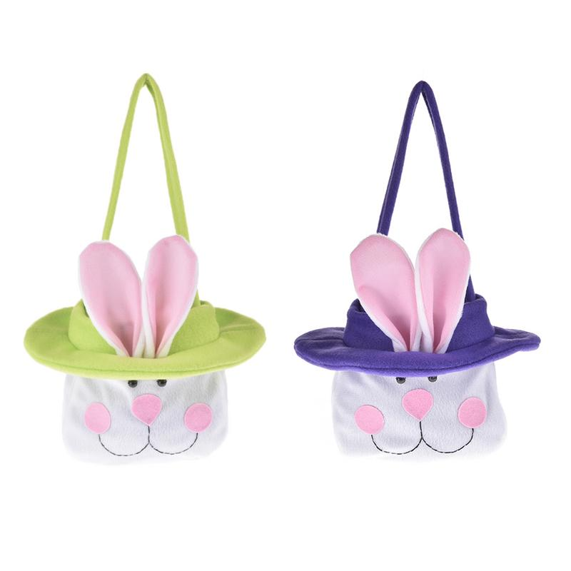 1Pc Easter Bunny Ear Bags Rabbit Candy Snack Bag Easter Baskets Kids Gifts Bag Festival DIY Craft Wedding Supplies Decor