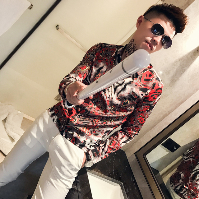 2019 spring new Korean version of the slim men's long-sleeved flower shirt nightclub hair stylist casual bottoming shirt trend