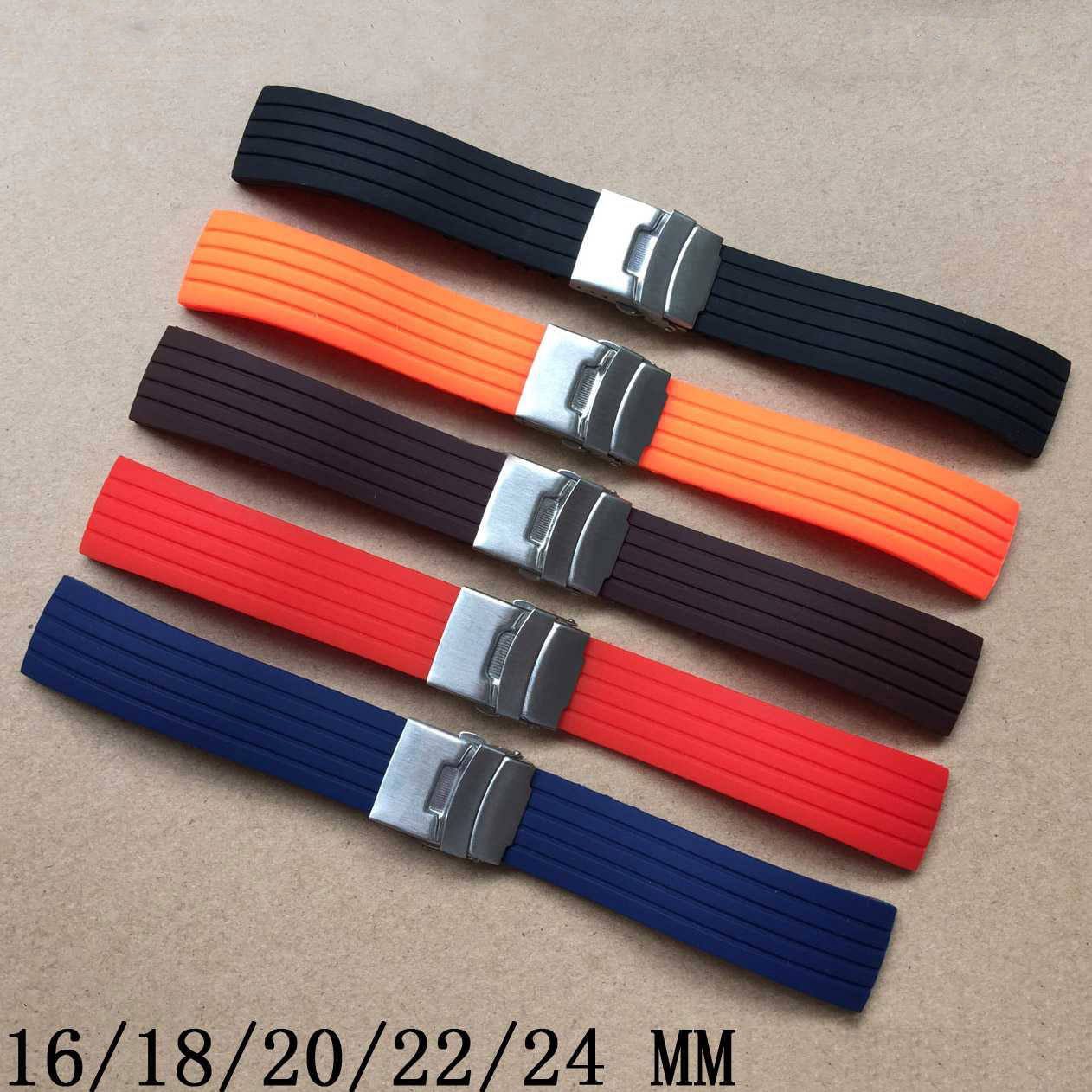 Silicone Rubber Watch Strap16mm 18mm 20mm 22mm 24mm Watch Strap Band Deployment Buckle Waterproof BLack For Casio Watchbands