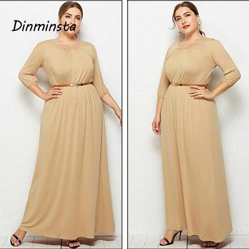 94b1897825 Dinminsta 2019 Spring Plus Size Ladies Dresses Elegant Long Frocks For  Women Half Sleeve Loose Maxi Dress Female Casual Wear