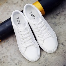 2019 New Spring Solid Black & White Lace-up Shoes Woman PU Leather Solid color F