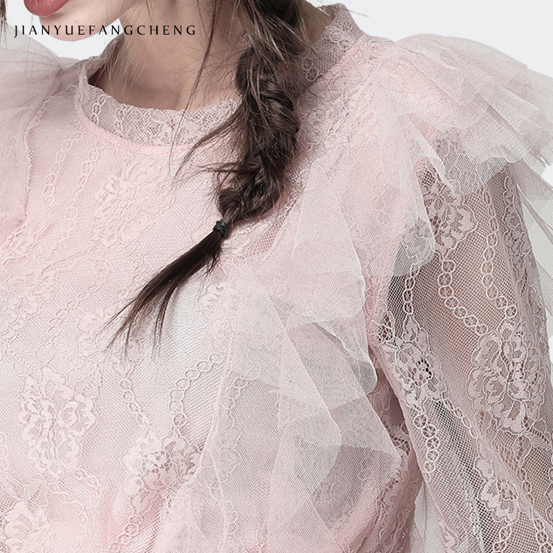 Spring Summer Lace Shirt Women Long Sleeve 2019 Plus Size O-Neck See Through Transparent Tops Elegant Ladies Blouses China Pink