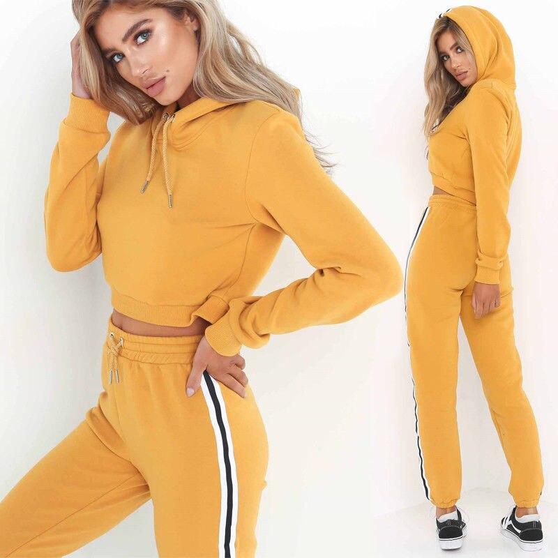 2Pcs Women Tracksuit Sets Sport Suits Top Shirt+Pants Outwear Outfits Sweatshirt