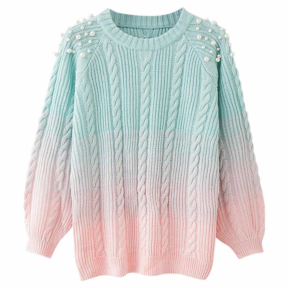 3de0bcfd5889 Wipalo Pearl Beading Autumn Winter Women Sweaters Gradient Pink Elegant  Warm Knitwear Pullovers Casual Jumper Femme