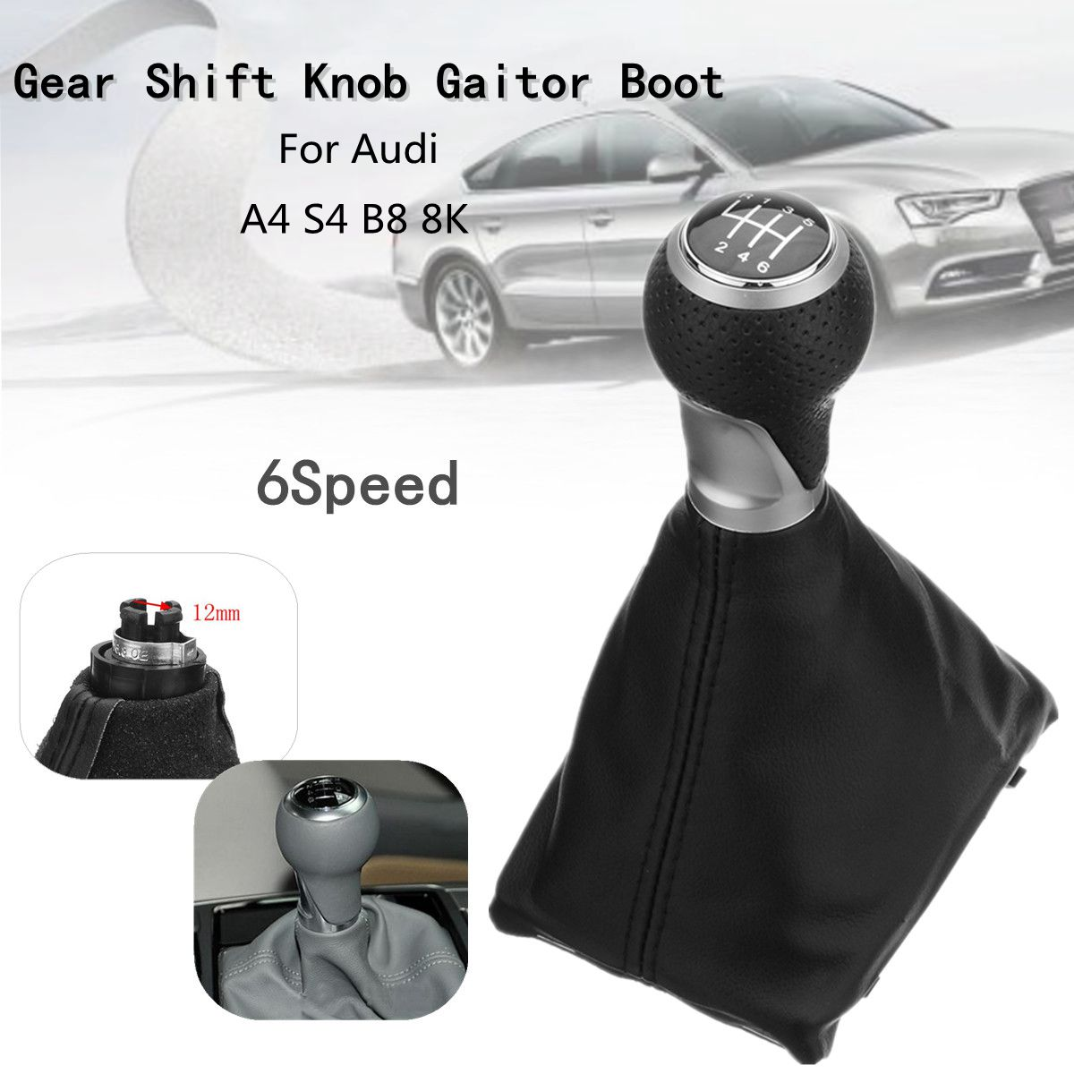 6 Speed Car MT Gear Shift Knob Gaiter Boot Cover For <font><b>Audi</b></font> <font><b>A4</b></font> S4 B8 8K A5 8T Q5 8R S-Line 2007 2008 2009 2010 <font><b>2011</b></font> 2012 2013-2015 image