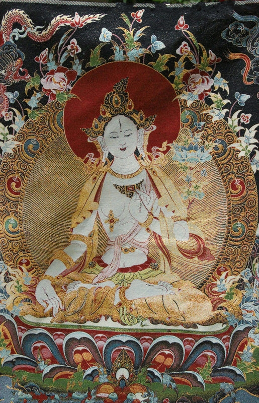 Tibet Buddhism Silk Satin Dragon Green Tara Guan Yin Thangka Painting Mural