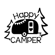 Happy Camper Decal Car Window Truck Glass Motorcycle SUVs Bumper Car Styling Vinyl Decals Car Sticker 26 6 2cm car sticker helmet for ants fun deep sticker motorcycle suvs bumper car window laptop car styling vinyl decals