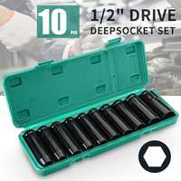 10pcs 8 24mm 1/2 Drive Deep Impact Socket Set Heavy Metric Garage Tool for Wrench Adapter Hand Tool Set