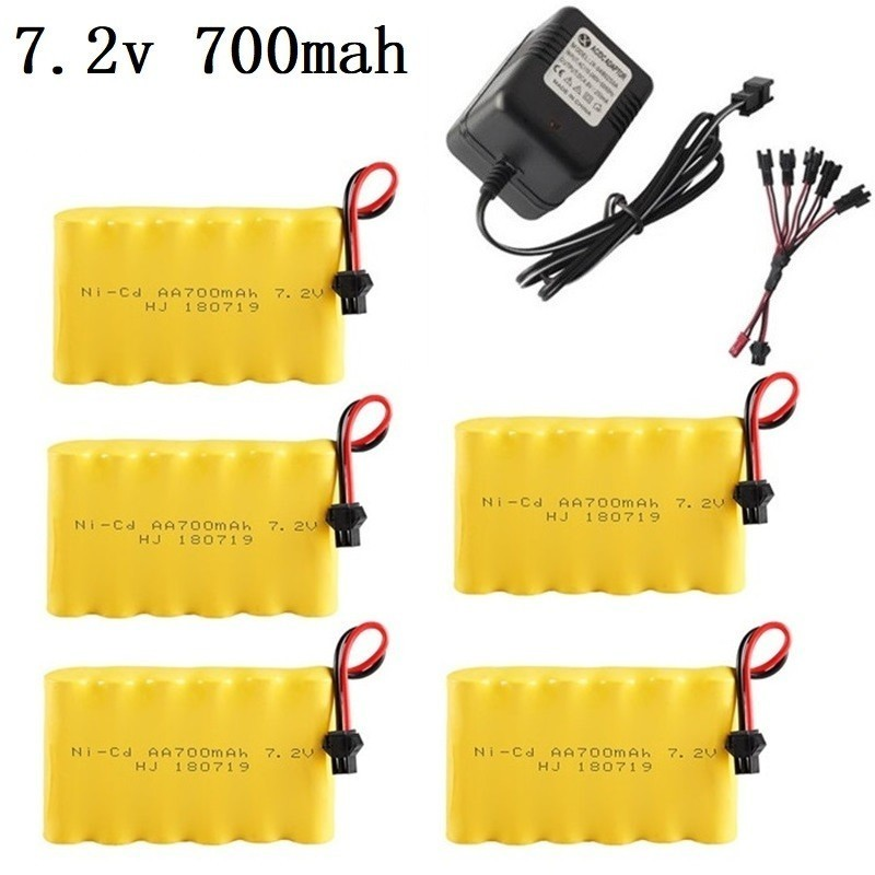 7.2V 700mAh Battery And Charger Remote Controul Toys Lighting Secuity Faclities 7.2v NiCD Battery TOYS Cars Gun Battery Group