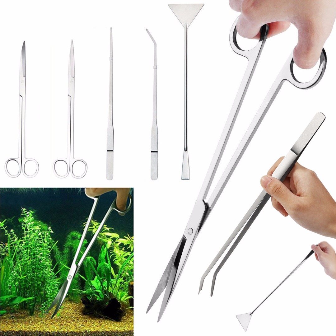 3/5Pcs Aquarium Tools Kit Aquascaping Tank Aquatic Plant High Quality Tweezers Scissors Stainless Steel Maintenance Tool