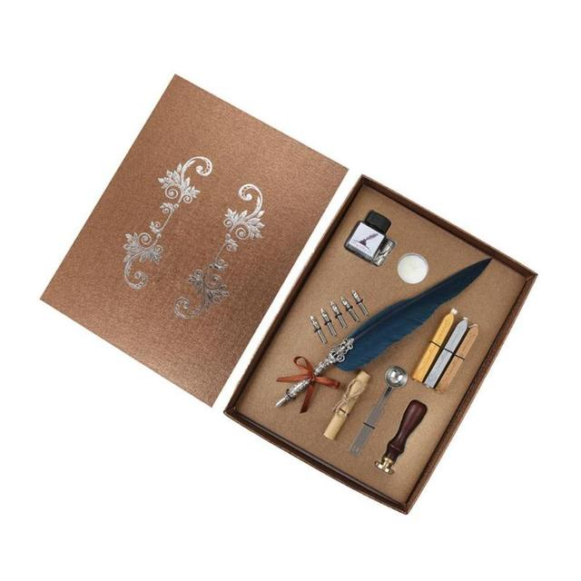 1set Retro Vintage Calligraphy Feather Dip Pen Writing Ink Set Stationery Quill Fountain Pens Creative Vintage Pen Dropshipping 1