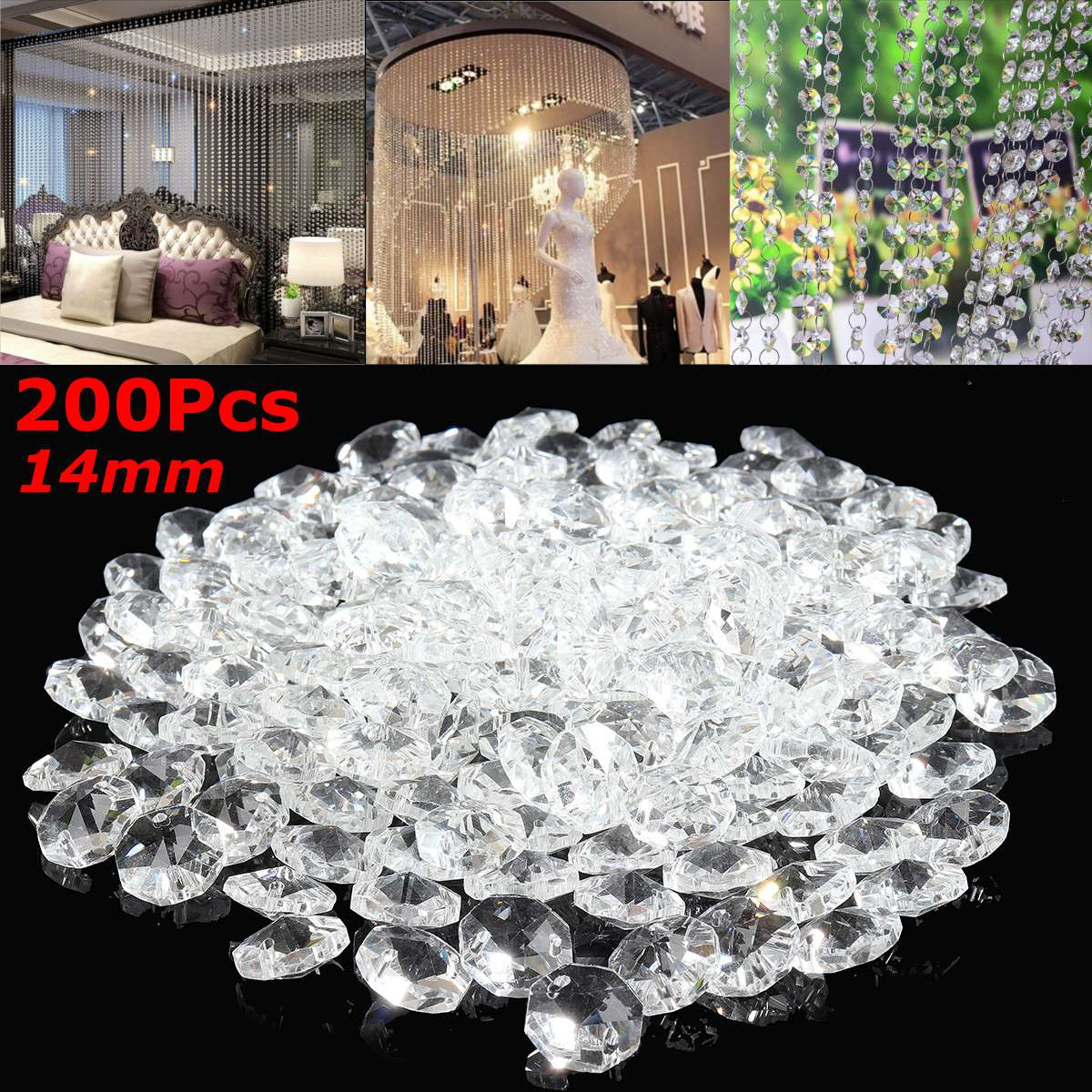 200PCS 14mm Clear Crystal Glass Prisms Octagonal Beads Pendant Hanging Prisms For DIY Light Lamp Part Decoration Home Decor