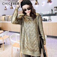 CHICEVER Winter Knitted Pullovers Female Sweater For Women Top Long Sleeve O neck Sweaters Jumper Tops Clothes Fashion Casual
