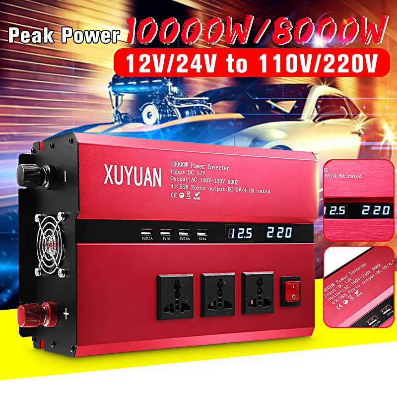 KRoak Solar Power Inverter 10000W  Power Sine Wave Converter  DC 12V/24V To AC 220V