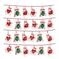 Хлопковый Рождественский календарь, гирлянда, 24 шт., 11x16 см, подвесной календарь, подарочные пакеты, новый год, 2019, Семейный календарь