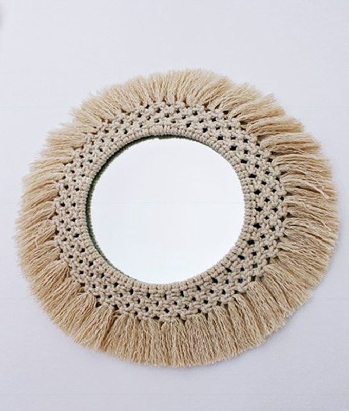 Diameter 35cm Macrame wall tapestry mirror round boho mirror wall macrame decorative mirror wall tapestry Детская кроватка