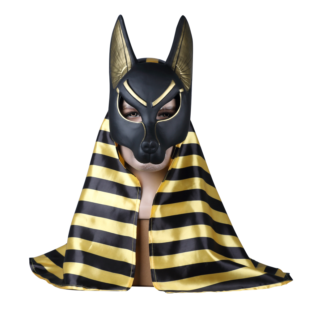 Egyptian Anubis Cosplay Face Mask PVC Canis Spp Wolf Head Jackal Animal Masquerade Props Party Halloween Fancy Dress Ball