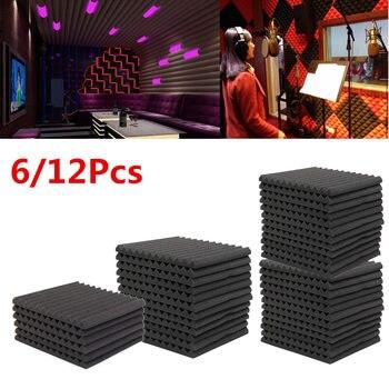 6 Pcs/12 Pcs Kedap Suara Busa Busa Akustik Studio Menyerap Baji Ubin Busa Wall Panel untuk KTV Suara Studio 300*300*25 Mm