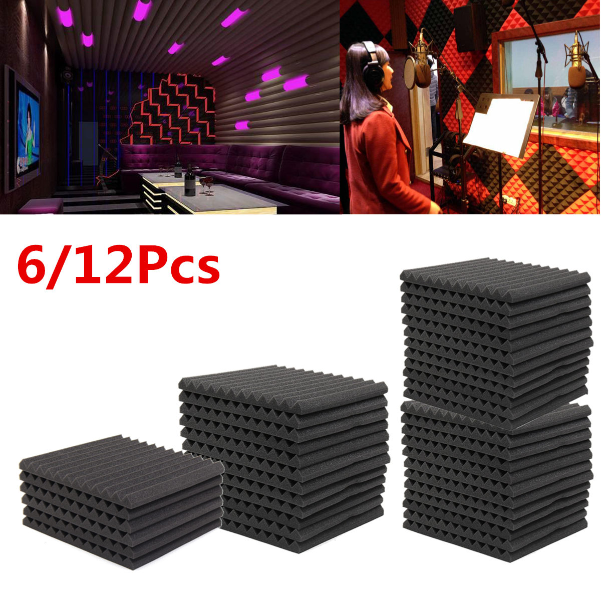 6Pcs/12Pcs Soundproofing Foam Acoustic Foam Studio Absorbing Wedge Foam Tiles Wall Panels For KTV Sound Studio 300*300*25mm