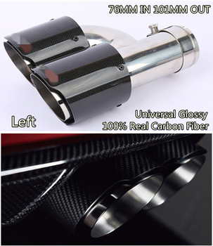 Universal Links Auspuff Schwanz Schalldämpfer Spitze Glänzend 100% Real Carbon Fiber In 76mm Heraus 101mm für Auto SUV Dual Rohr