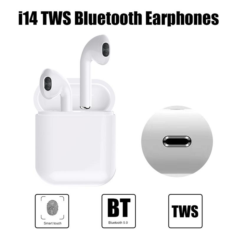 Mini <font><b>i14</b></font> <font><b>tws</b></font> Bluetooth Earphone Wireless Headset Touch Control 3D Bass Stereo <font><b>Earbuds</b></font> PK i7s i13 i12 i10 <font><b>tws</b></font> For iPhone Android image
