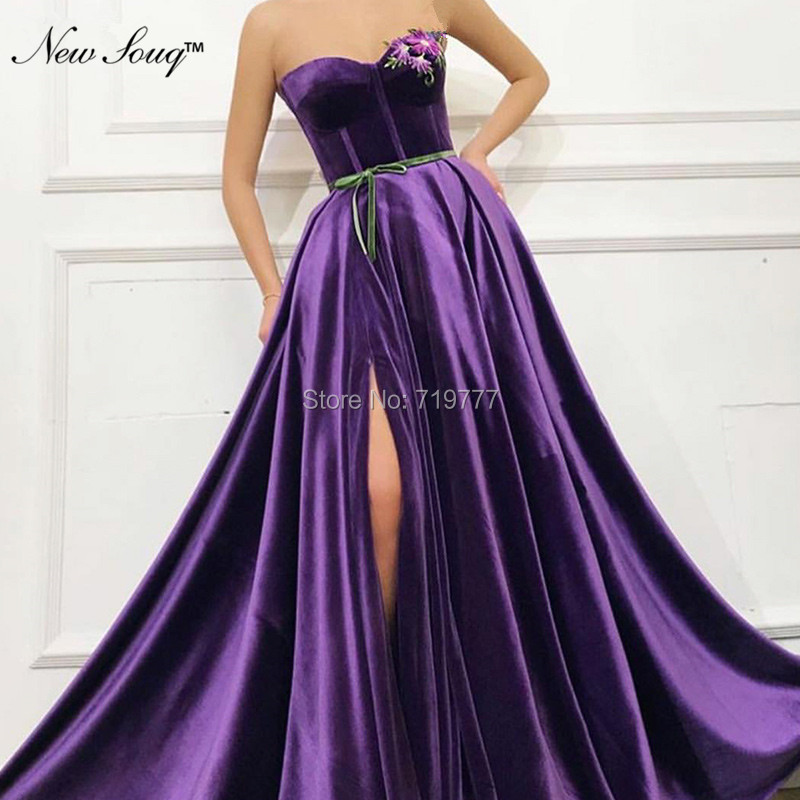 Embroidery Purple   Prom     Dresses   Robe De Soiree 2019 Arabic Evening   Dress   Simple Velvet Abendkleider Islamic African Party Gowns