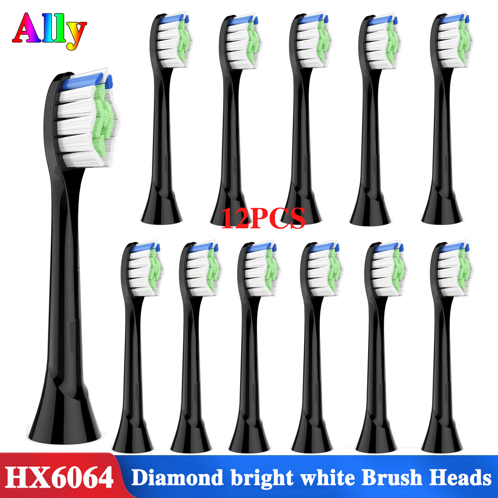 12pcs HX6064 Black Replacement Brushes For Phillips Sonicare Electric Toothbrush Heads EasyClean FlexCare Diamond Clean