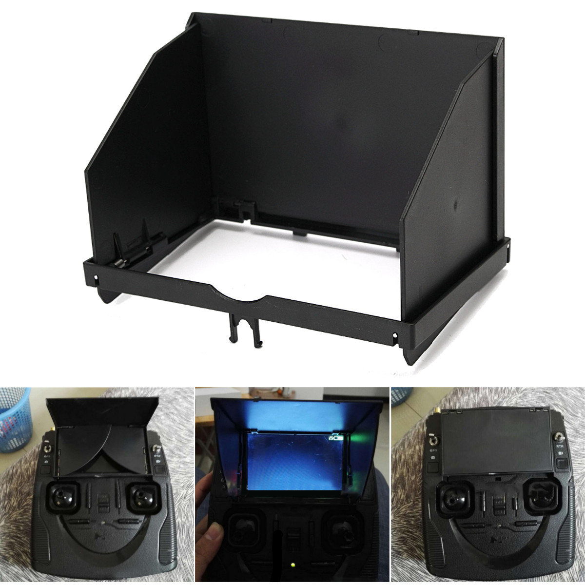 Plastic Folding Remote Control Sunshield Cover Monitor Hood Sunshade for FPV Hubsan H501S Controller Accessories Black