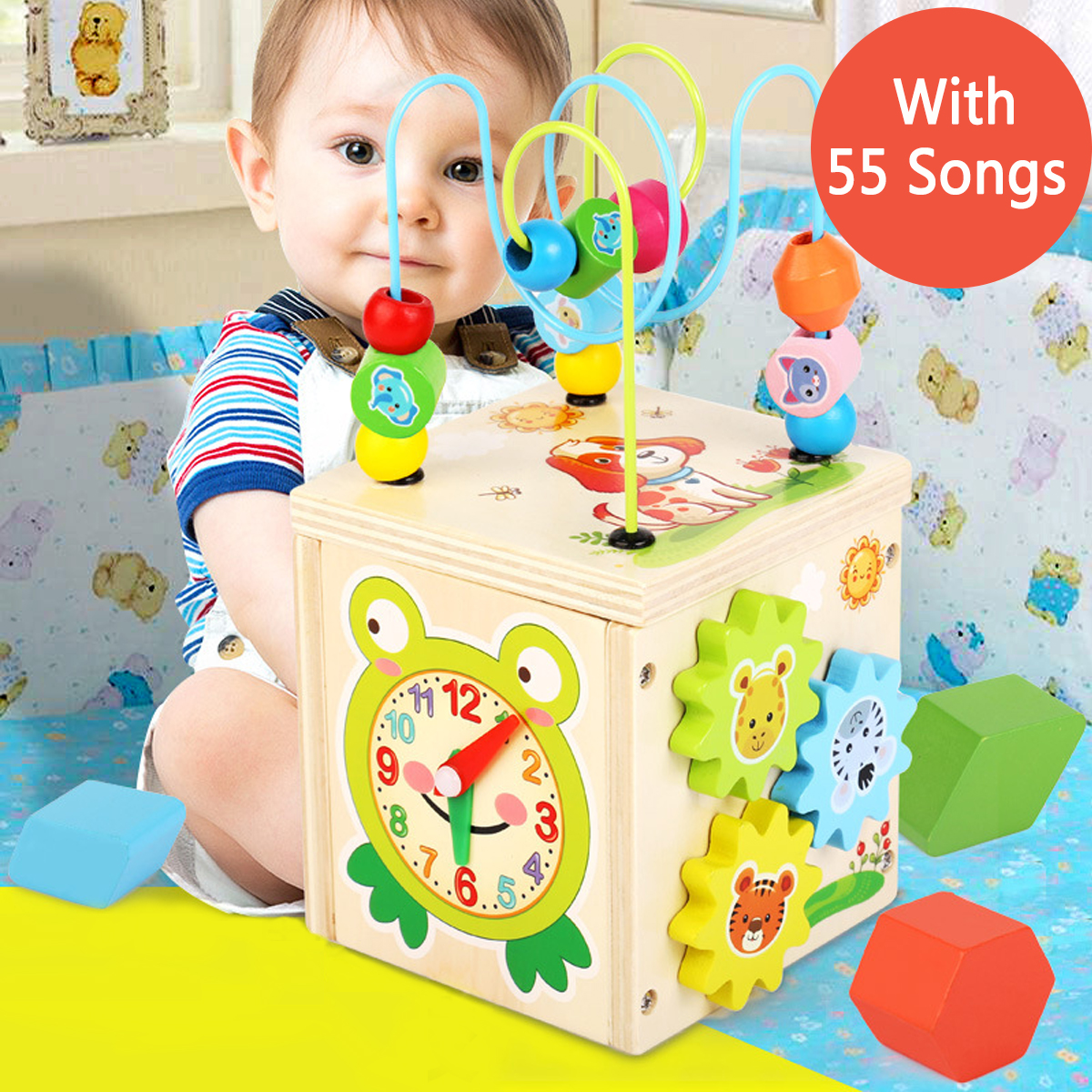 Multi-function 5 In 1 Wooden Bead Toys Circles Bead Abacus Clock Puzzles Learning Educational Toys Gift For Baby Child Kids