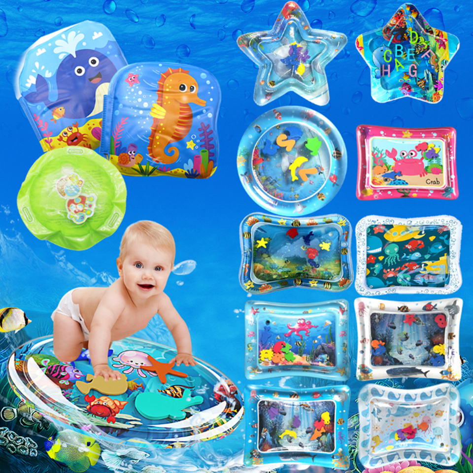 Inflatable Baby Water Mat Infant Tummy Time Playmat Toddler Fun Activity Play Center For Sensory Stimulation, Motor Skills