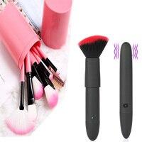 1 шт. кисти для макияжа креативные 10 скоростей вибрирующие кисти для макияжа USB зарядка водонепроницаемый немой инструмент для взрослых pincel ...