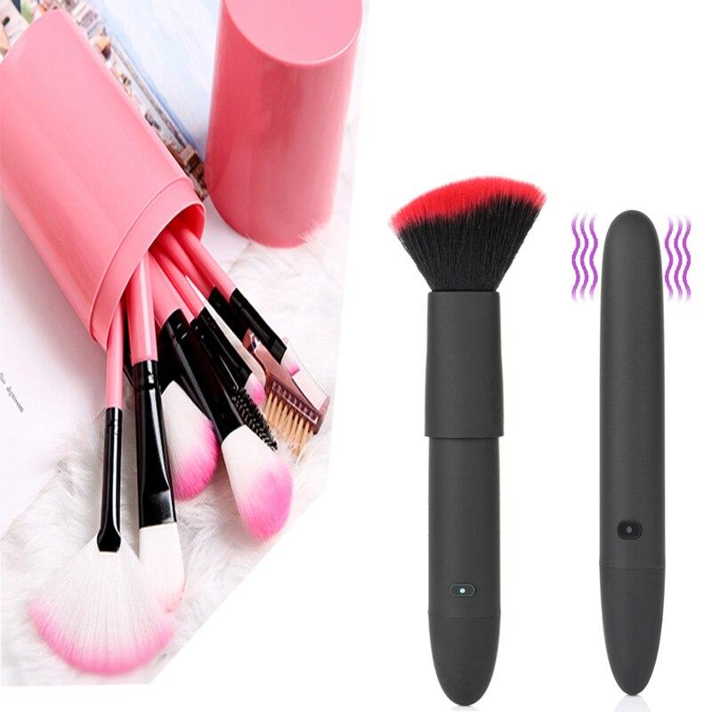 1 pçs pincéis de maquiagem criativo 10 velocidades vibração compõem escovas usb carregamento à prova dwaterproof água mudo adulto ferramenta pincel maquiagem