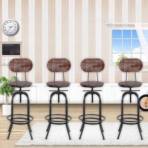 Image 5 - IKayaa Stile Industriale Sedie Da Bar Sgabello Regolabile in Altezza della Cucina Della Parte Girevole Sedia Da Pranzo Pinewood Top + del Metallo Con Schienale