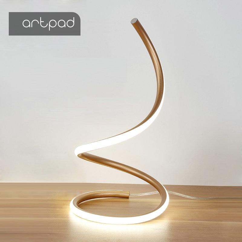 ArtPad Modern Art Decoration LED Table Lamps for Living Room Bedroom Lighting 110v 220v Spiral Bedside