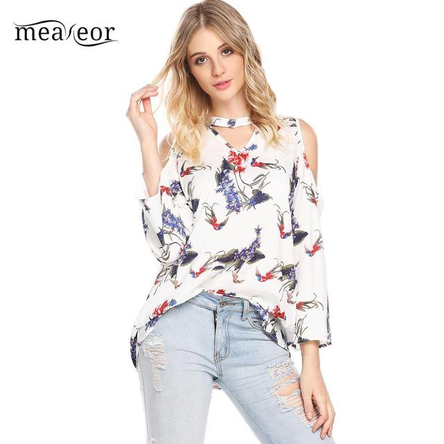 06a5b0120af3c4 Meaneor Floral Print Women Blouse Cold Shoulder Long Sleeve Blouse Shirts  Cut Out Floral Spring Shirts Casual Loose Blouses Tops